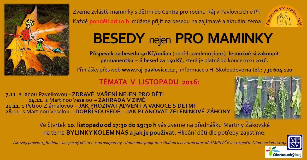 BESEDY  nejen  PRO  MAMINKY - LISTOPAD 2016