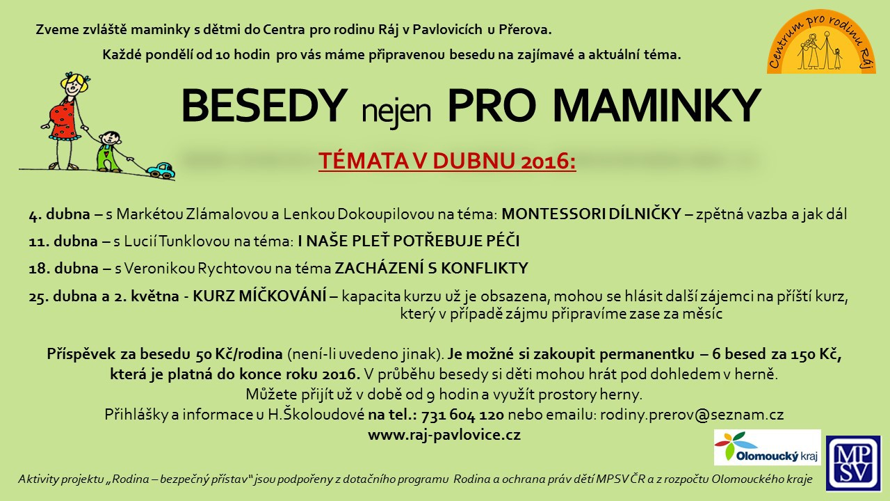 BESEDY  nejen  PRO  MAMINKY - duben 2016