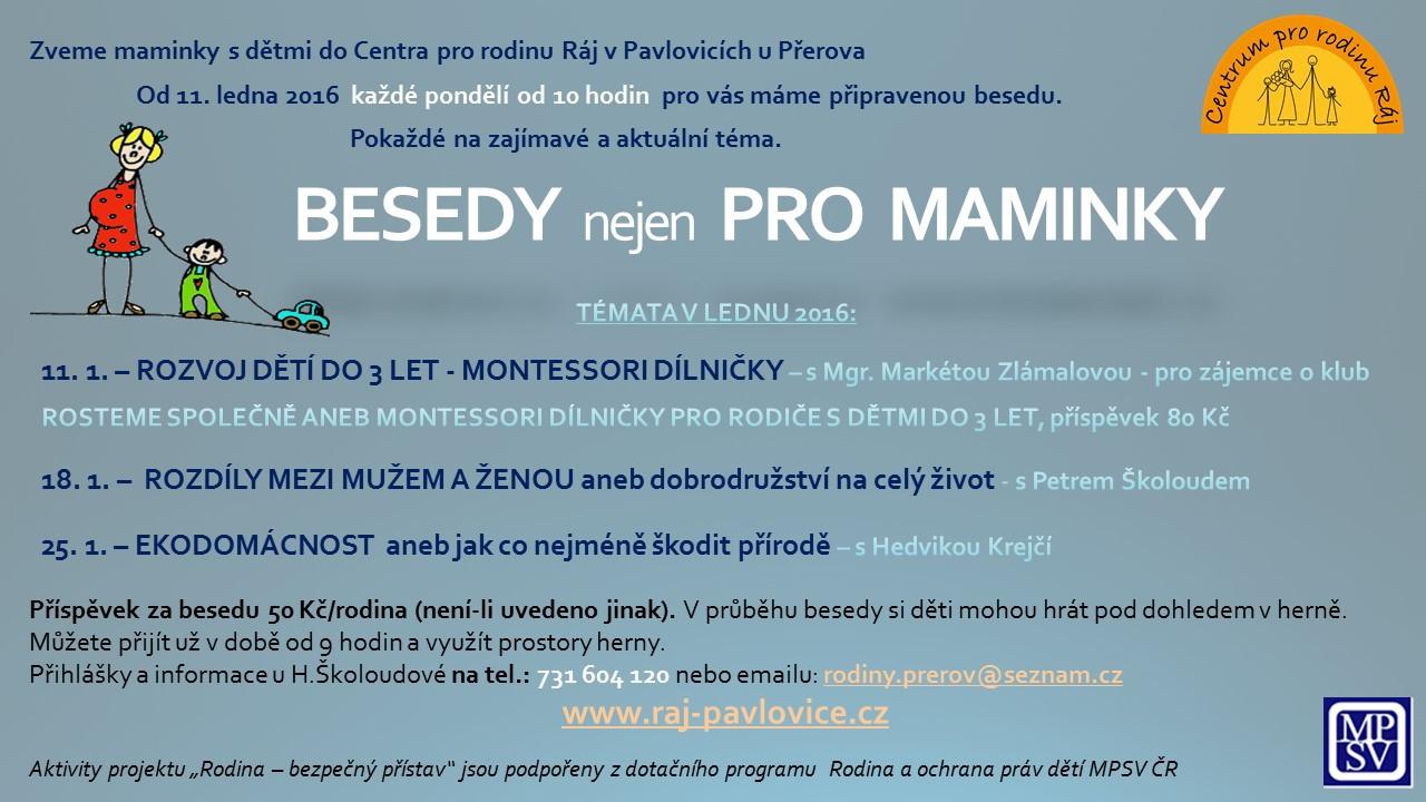BESEDY  nejen  PRO  MAMINKY - leden 2016
